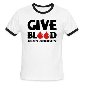 Give Blood Play Hockey Men's Ringer T-Shirt - Men's Ringer T-Shirt