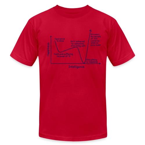 Happiness Versus Intelligence - Men's Fine Jersey T-Shirt