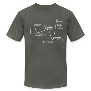 Happiness Versus Intelligence - Men's T-Shirt by American Apparel