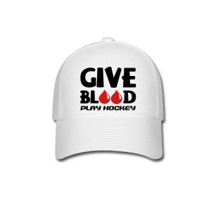 Give Blood Play Hockey Baseball Cap - Baseball Cap