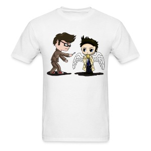 Superwho: The Doctor & Castiel White - Men's T-Shirt