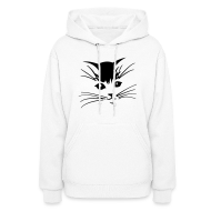 Hoodies ~ Women's Hoodie ~ Debbie: Thinking About Cats - Kitty Face