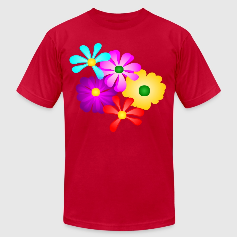 Gorgeous Tropical Flowers, Multi-Color--DIGITAL DIRECT PRINT T-Shirts - Men's T-Shirt by American Apparel