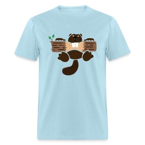 t-shirt beaver eager rodent otter wood forest teeth tree - Men's T-Shirt