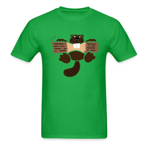 t-shirt beaver eager rodent otter wood forest teeth tree - Men's T-Shirt