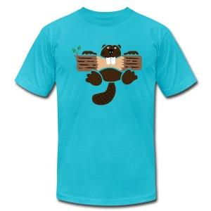t-shirt beaver eager rodent otter wood forest teeth tree - Men's Fine Jersey T-Shirt