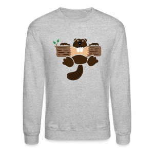 t-shirt beaver eager rodent otter wood forest teeth tree - Crewneck Sweatshirt