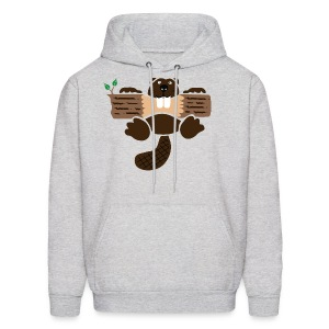 t-shirt beaver eager rodent otter wood forest teeth tree - Men's Hoodie