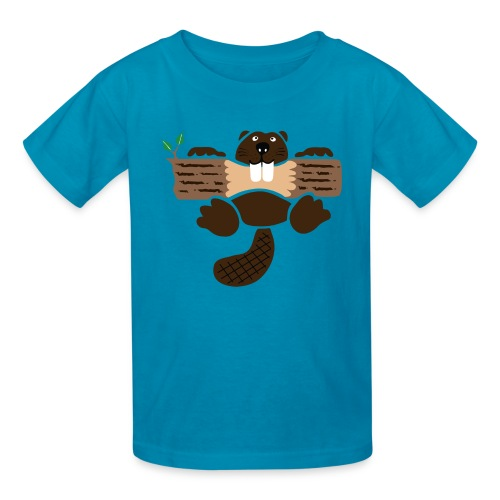 t-shirt beaver eager rodent otter wood forest teeth tree - Kids' T-Shirt