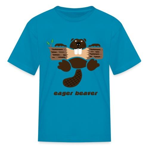 t-shirt beaver eager rodent otter wood forest teeth tree - Kids' T-Shirt