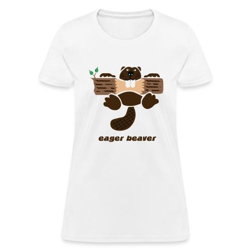 t-shirt beaver eager rodent otter wood forest teeth tree - Women's T-Shirt