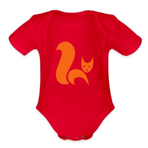 t-shirt fox foxy cat squirrel pussy kitten readhead tail chipmunk animal forest - Organic Short Sleeve Baby Bodysuit