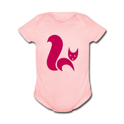 t-shirt fox foxy cat squirrel pussy kitten readhead tail chipmunk animal forest - Organic Short Sleeve Baby Bodysuit
