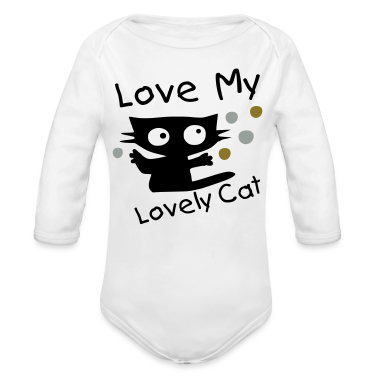 Love my lovely cat vector art Baby Long Sleeve One Piece