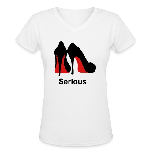 Red Bottom serious womans v-neck t-shirt - Women's V-Neck T-Shirt