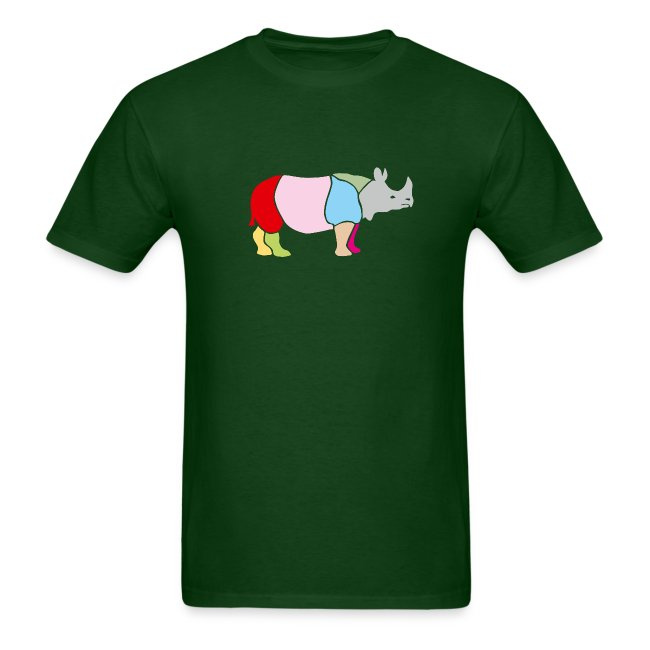 t-shirt rhino rhinoceros africa horn horny wild animal colorful colors map funny happy