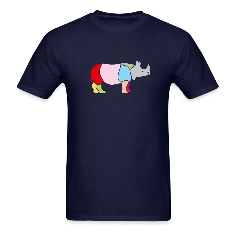 t-shirt rhino rhinoceros africa horn horny wild animal colorful colors map funny happy - Men's T-Shirt