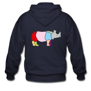 t-shirt rhino rhinoceros africa horn horny wild animal colorful colors map funny happy - Men's Zip Hoodie