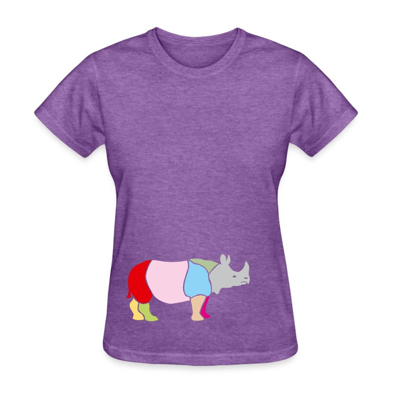t-shirt rhino rhinoceros africa horn horny wild animal colorful colors map funny happy - Women's T-Shirt