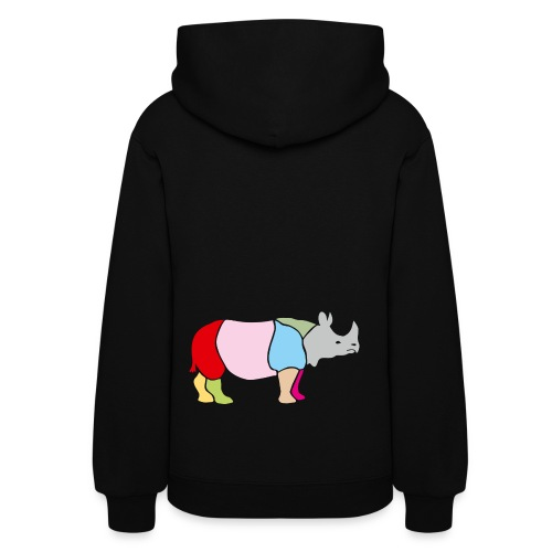 t-shirt rhino rhinoceros africa horn horny wild animal colorful colors map funny happy - Women's Hoodie