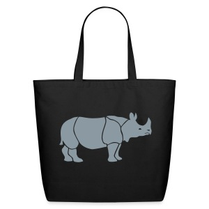 t-shirt rhino rhinoceros africa horn horny wild animal colorful colors map funny happy - Eco-Friendly Cotton Tote