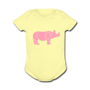 t-shirt rhino rhinoceros africa horn horny wild animal colorful colors map funny happy - Short Sleeve Baby Bodysuit