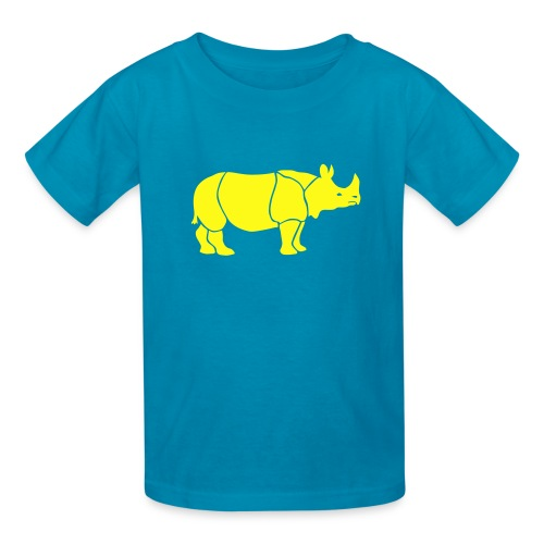 t-shirt rhino rhinoceros africa horn horny wild animal colorful colors map funny happy - Kids' T-Shirt