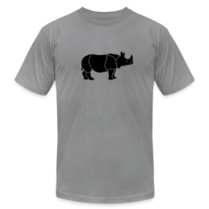 t-shirt rhino rhinoceros africa horn horny wild animal colorful colors map funny happy - Men's T-Shirt by American Apparel