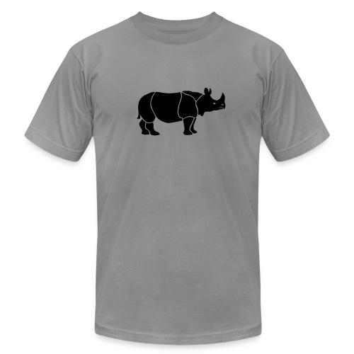 t-shirt rhino rhinoceros africa horn horny wild animal colorful colors map funny happy - Men's Fine Jersey T-Shirt