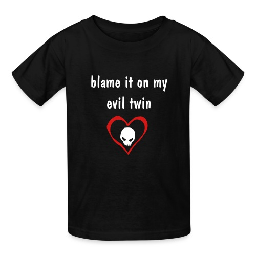 blame/my evil twin in red heart - Kids' T-Shirt
