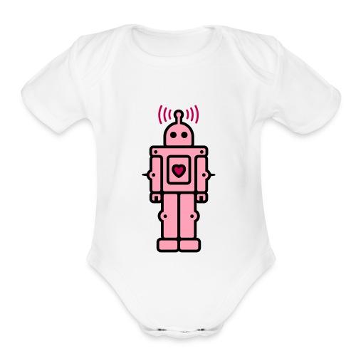 Pink Bot - Organic Short Sleeve Baby Bodysuit
