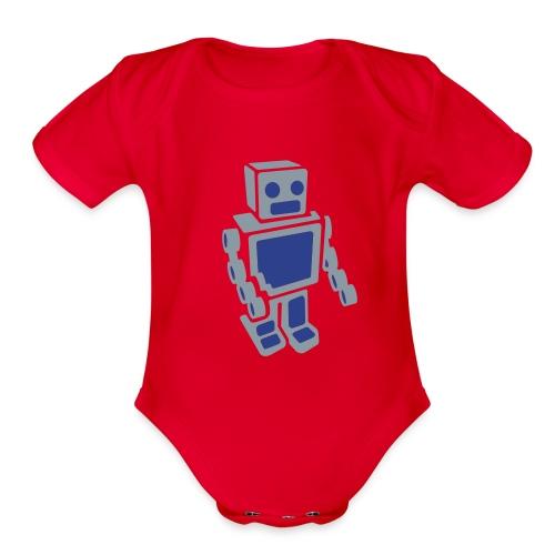 Blue Bot - Metallic Silver - Organic Short Sleeve Baby Bodysuit