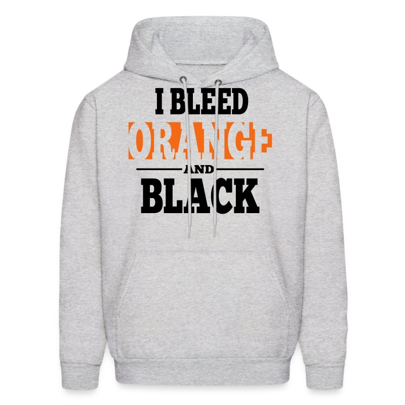 I Bleed Orange and Black Hoodie - Ash Grey - Men's Hoodie
