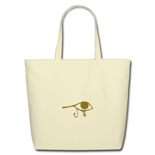 Egyptian Eye of Ra - Eco Friendly Cotton Tote - Creme & Metallic Gold - Eco-Friendly Cotton Tote
