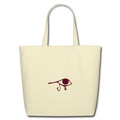 Egyptian Eye of Ra - Eco Friendly Cotton Tote - Creme & Maroon - Eco-Friendly Cotton Tote