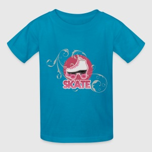 White and Pink Roller Skate Kid's Skating T-Shirt - Kids' T-Shirt