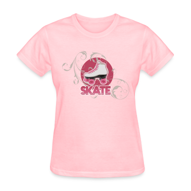 White and Pink Roller Skate Ladies' Skating or Roller Derby T-Shirt