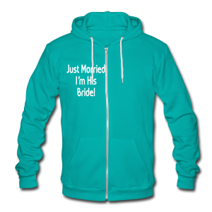 Just Married I'm His Bride - Unisex Fleece Zip Hoodie by American Apparel