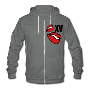 XV Lips I - Unisex Fleece Zip Hoodie by American Apparel