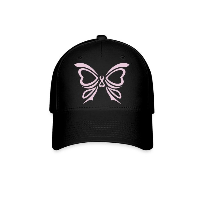 Pink Ribbon Butterfly Baseball Cap