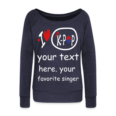 I heart love k-pop txt s.korea flag vector Wideneck Sweatshirt