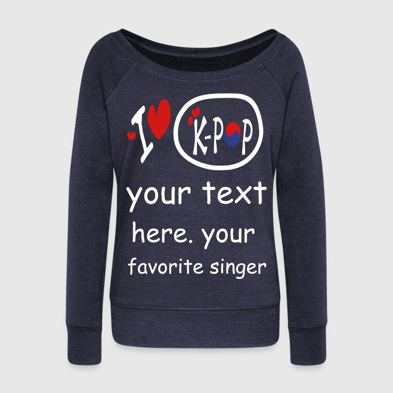 I heart love k-pop txt s.korea flag vector Wideneck Sweatshirt - Women's Wideneck Sweatshirt