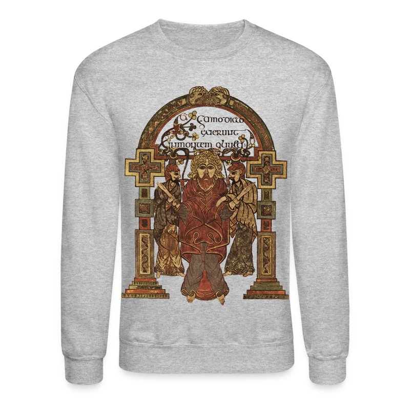 Lindisfarne Gospels: Cross-carpet page introducing the Gospel according to St. Matthew. 698-720 AD. Northumbria, England.  - Crewneck Sweatshirt