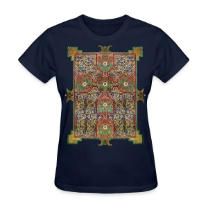 Lindisfarne Gospels: Cross-carpet page introducing the Gospel according to St. Matthew. 698-720 AD. Northumbria, England.  - Women's T-Shirt