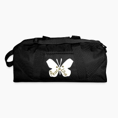 Love peace txt cool butterfly insect vector grpahic art Duffel Bag