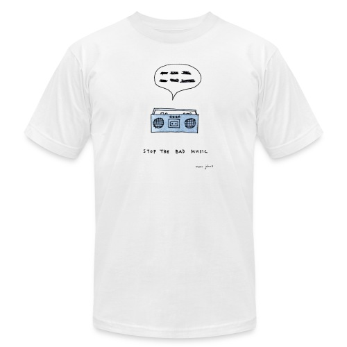 Stop the bad music - Men's white tee - Men's  Jersey T-Shirt