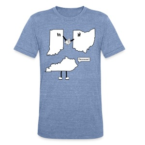 Unisex Tri-Blend T-Shirt by American Apparel - Hilarious take on how the Ohio, Indiana + Kentucky tri-state began. This funny t-shirt design is perfect for casual fridays...if you work from home. You'll be sure to get a chuckle from passerby's with this design. Created by CityStateTees.com