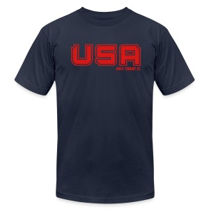 Men's T-Shirt by American Apparel - USA Just Chant It print. Whether you're cheering on our national soccer teams, Olympic athletes or our soldiers, this shirt is a must have. USA, USA, USA, just chant it.