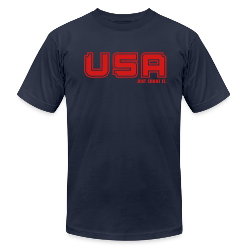 Men's Fine Jersey T-Shirt - USA Just Chant It print. Whether you're cheering on our national soccer teams, Olympic athletes or our soldiers, this shirt is a must have. USA, USA, USA, just chant it.