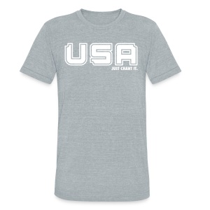 Unisex Tri-Blend T-Shirt by American Apparel - USA Just Chant It print. Whether you're cheering on our national soccer teams, Olympic athletes or our soldiers, this shirt is a must have. USA, USA, USA, just chant it.